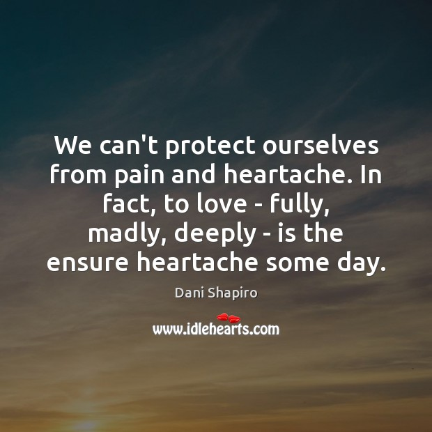 We can't protect ourselves from pain and heartache. In fact, to love Dani Shapiro Picture Quote