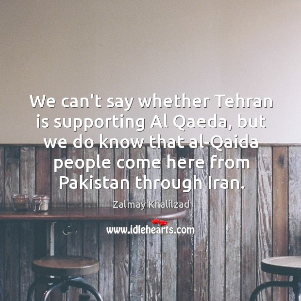 We can't say whether Tehran is supporting Al Qaeda, but we do Zalmay Khalilzad Picture Quote