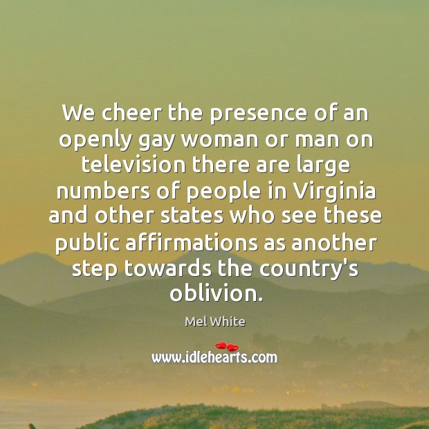 We cheer the presence of an openly gay woman or man on Image