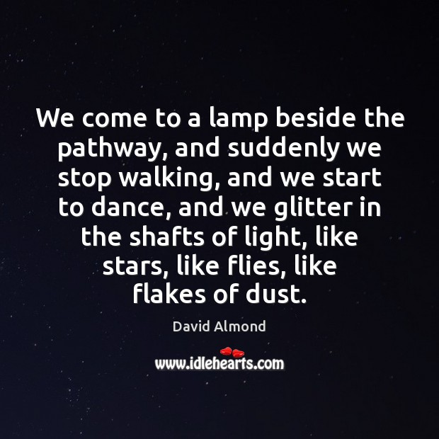 We come to a lamp beside the pathway, and suddenly we stop David Almond Picture Quote