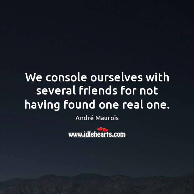 Image, We console ourselves with several friends for not having found one real one.