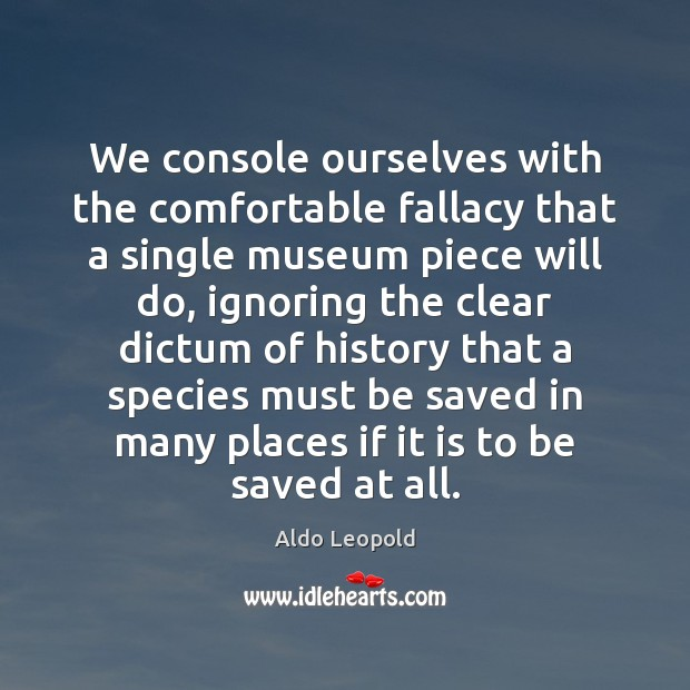 Image, We console ourselves with the comfortable fallacy that a single museum piece