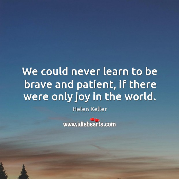 Image, We could never learn to be brave and patient, if there were only joy in the world.