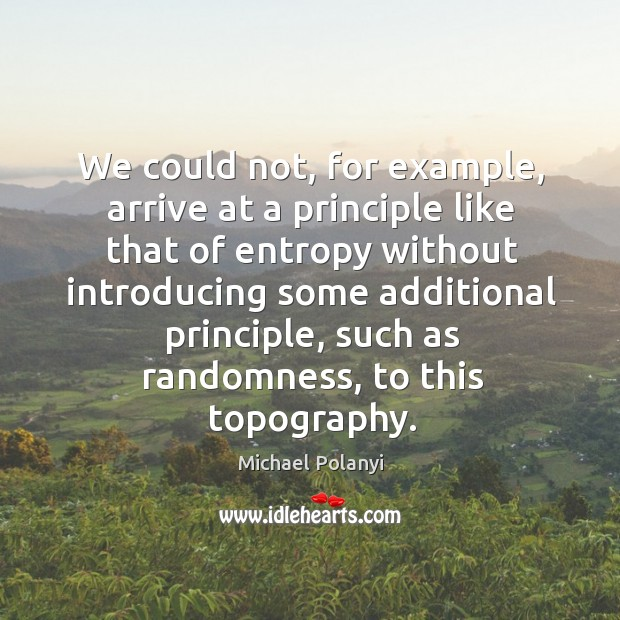 We could not, for example, arrive at a principle like that of entropy without introducing Michael Polanyi Picture Quote