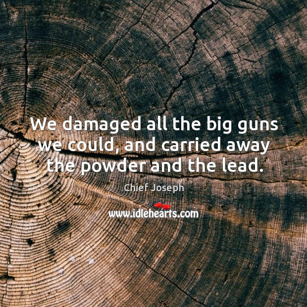 We damaged all the big guns we could, and carried away the powder and the lead. Chief Joseph Picture Quote