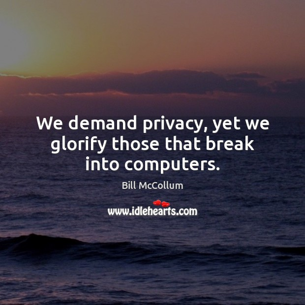 Image, We demand privacy, yet we glorify those that break into computers.