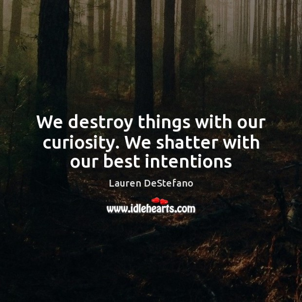 We destroy things with our curiosity. We shatter with our best intentions Best Intentions Quotes Image