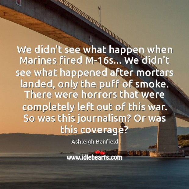 We didn't see what happen when Marines fired M-16s… We didn't Image