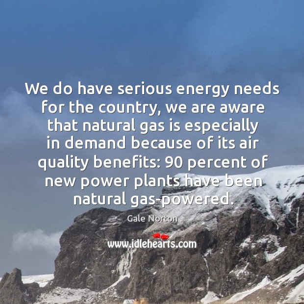We do have serious energy needs for the country, we are aware that natural gas is Gale Norton Picture Quote
