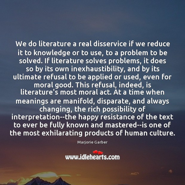 We do literature a real disservice if we reduce it to knowledge Marjorie Garber Picture Quote