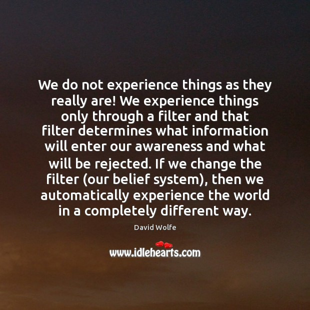 We do not experience things as they really are! We experience things David Wolfe Picture Quote