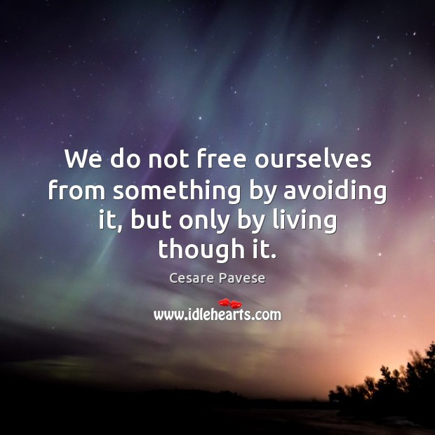 Image, We do not free ourselves from something by avoiding it, but only by living though it.
