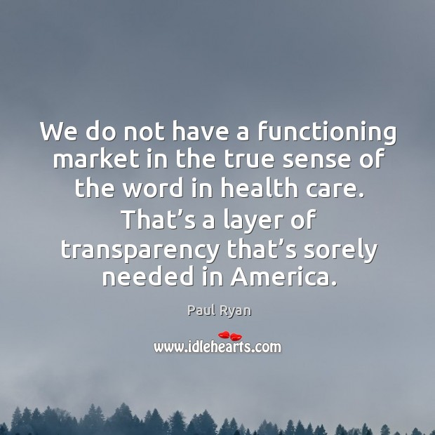 Image, We do not have a functioning market in the true sense of the word in health care.