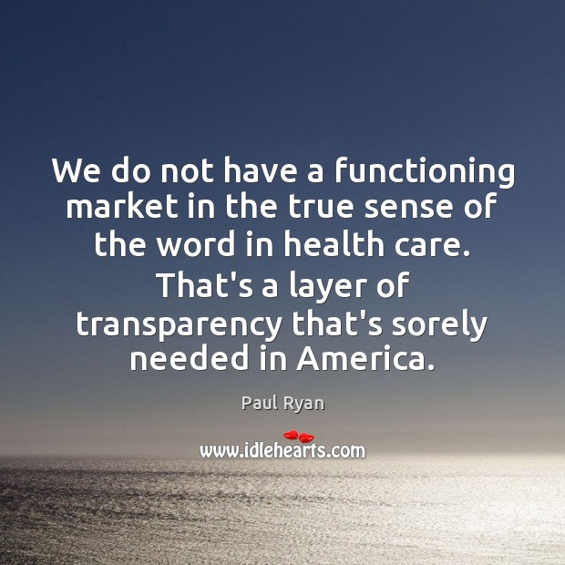 We do not have a functioning market in the true sense of Paul Ryan Picture Quote