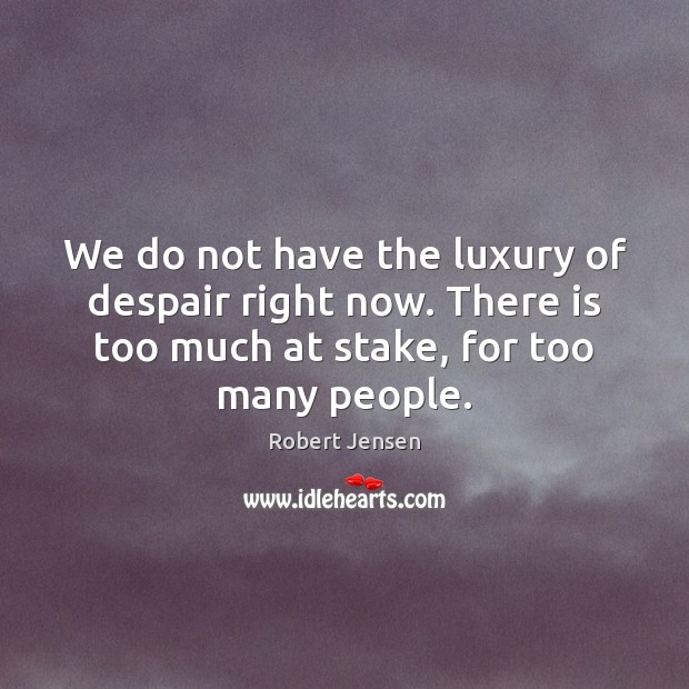 We do not have the luxury of despair right now. There is Robert Jensen Picture Quote