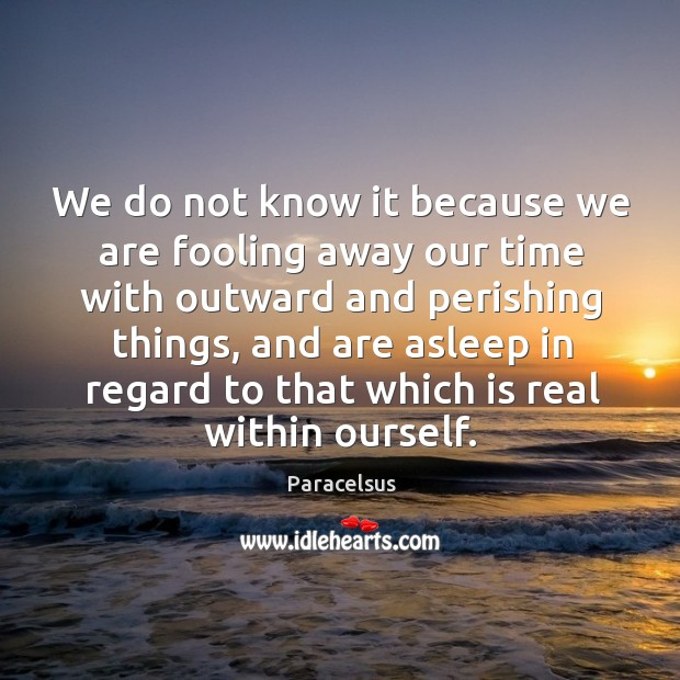 We do not know it because we are fooling away our time with outward and perishing things Image