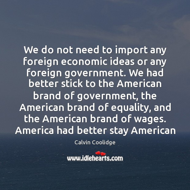 Image, We do not need to import any foreign economic ideas or any
