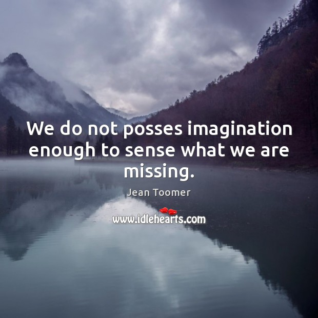 We do not posses imagination enough to sense what we are missing. Jean Toomer Picture Quote