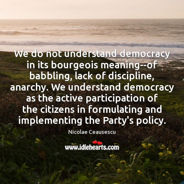 Image, We do not understand democracy in its bourgeois meaning–of babbling, lack of
