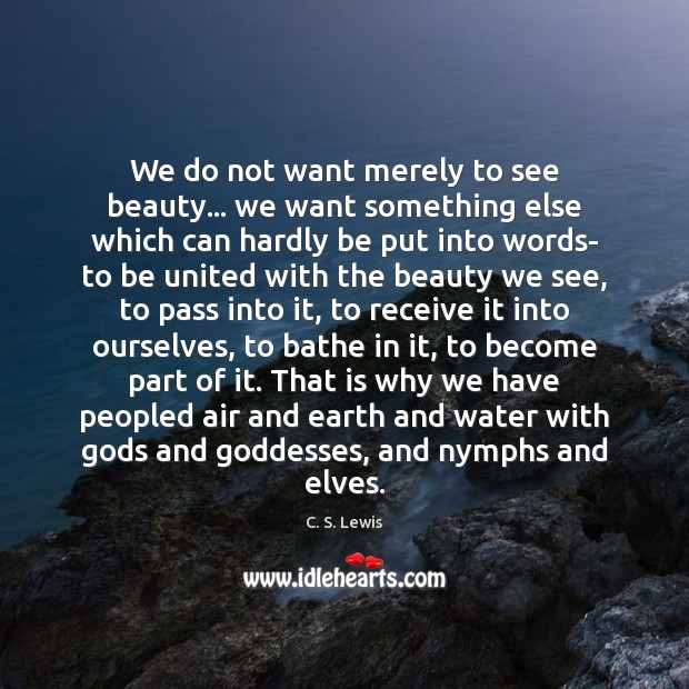 We do not want merely to see beauty… we want something else Image