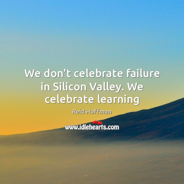We don't celebrate failure in Silicon Valley. We celebrate learning Reid Hoffman Picture Quote