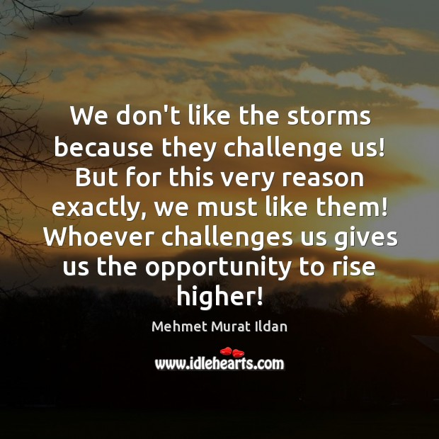 We don't like the storms because they challenge us! But for this Mehmet Murat Ildan Picture Quote