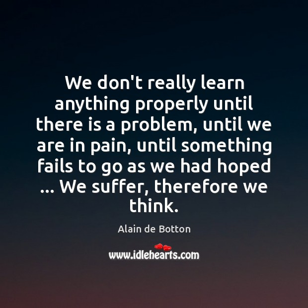 We don't really learn anything properly until there is a problem, until Alain de Botton Picture Quote