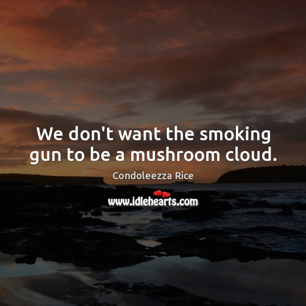 Image, We don't want the smoking gun to be a mushroom cloud.