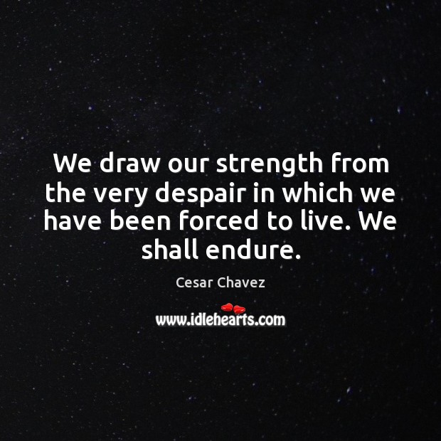 Image, We draw our strength from the very despair in which we have