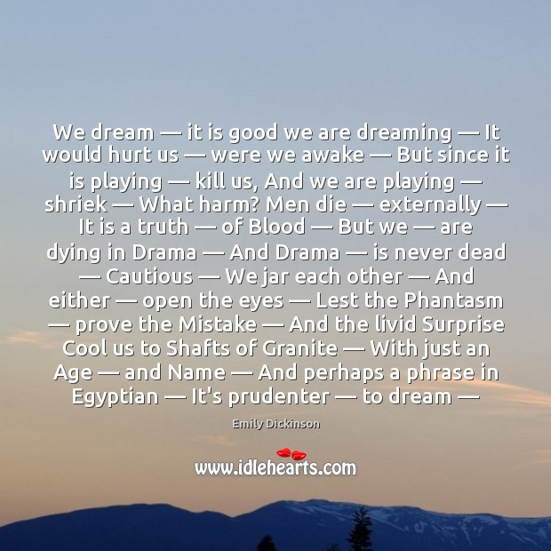 We dream — it is good we are dreaming — It would hurt us — Image