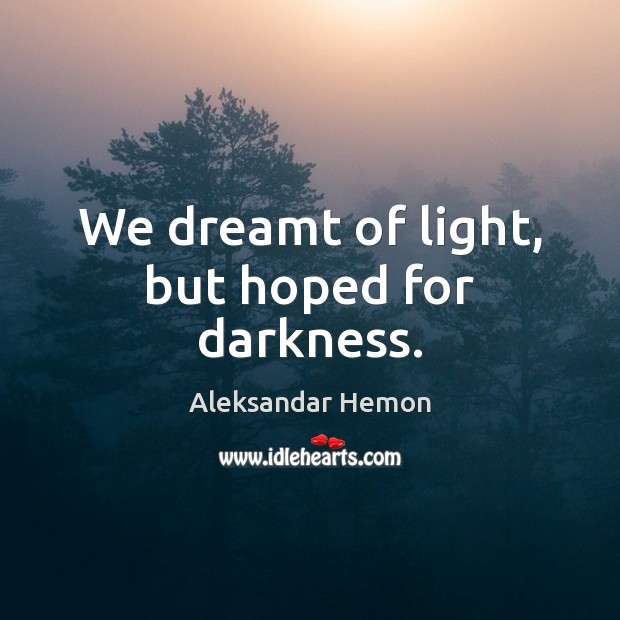 We dreamt of light, but hoped for darkness. Image