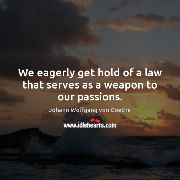 We eagerly get hold of a law that serves as a weapon to our passions. Image