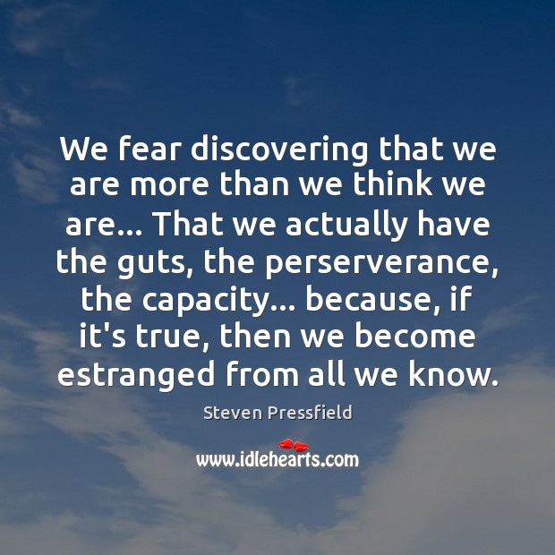 Image, We fear discovering that we are more than we think we are…