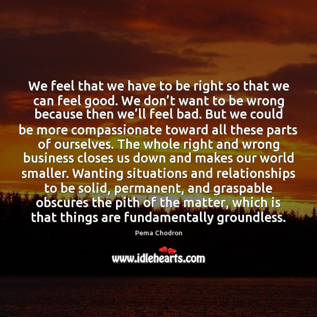 Image, We feel that we have to be right so that we can