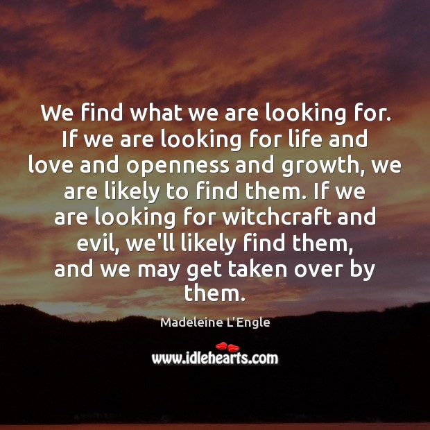 We find what we are looking for. If we are looking for Image