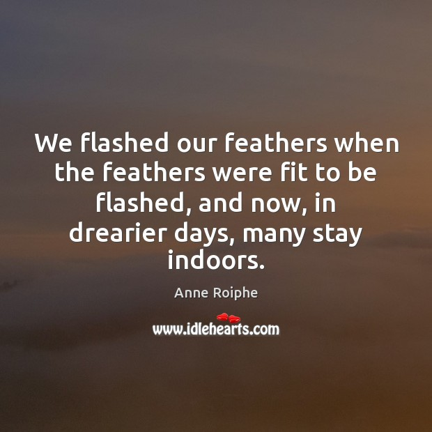 We flashed our feathers when the feathers were fit to be flashed, Image