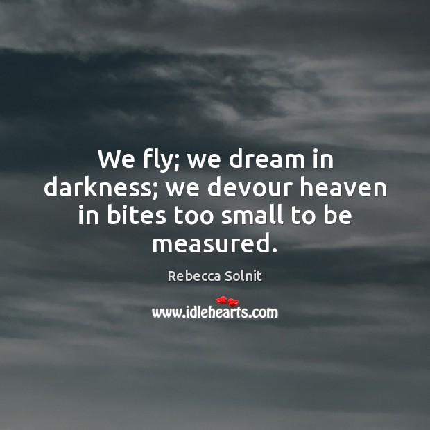 We fly; we dream in darkness; we devour heaven in bites too small to be measured. Rebecca Solnit Picture Quote