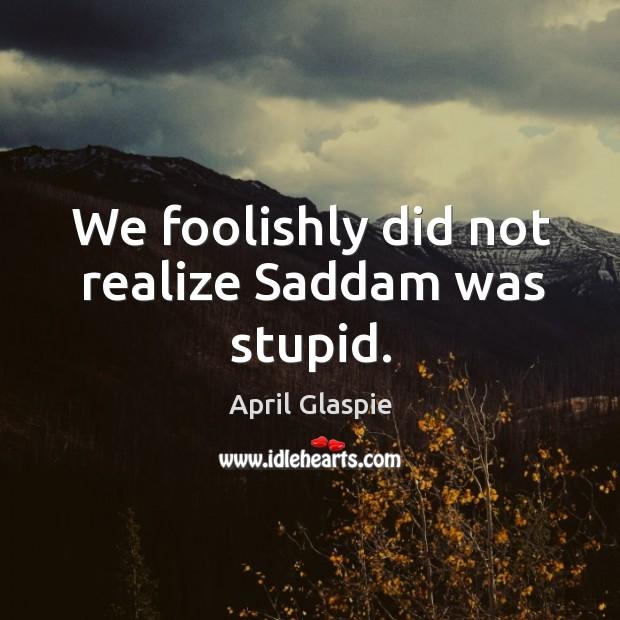 Image, We foolishly did not realize saddam was stupid.
