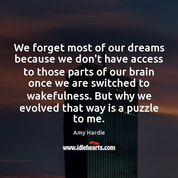 We forget most of our dreams because we don't have access to Amy Hardie Picture Quote