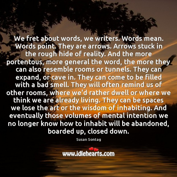 We fret about words, we writers. Words mean. Words point. They are Susan Sontag Picture Quote
