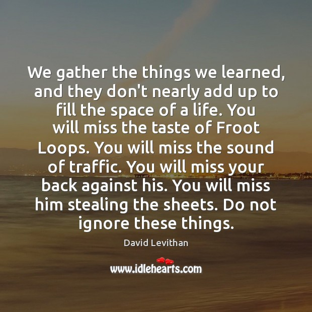 We gather the things we learned, and they don't nearly add up David Levithan Picture Quote