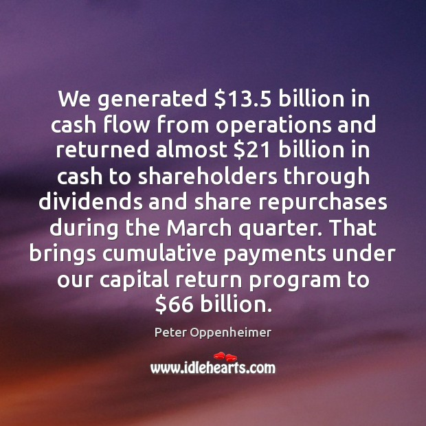 Image, We generated $13.5 billion in cash flow from operations and returned almost $21 billion