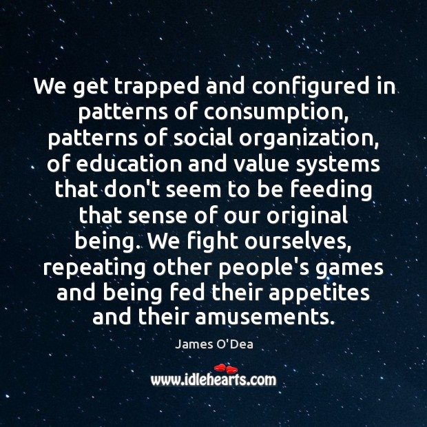 We get trapped and configured in patterns of consumption, patterns of social Image