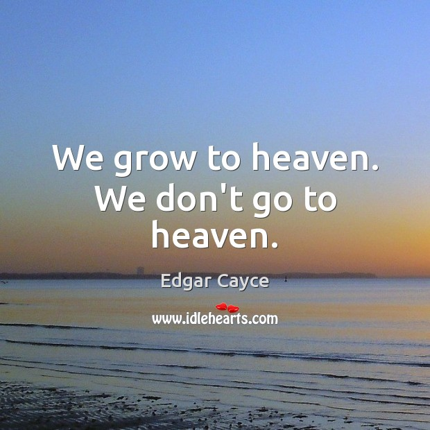 We grow to heaven. We don't go to heaven. Edgar Cayce Picture Quote