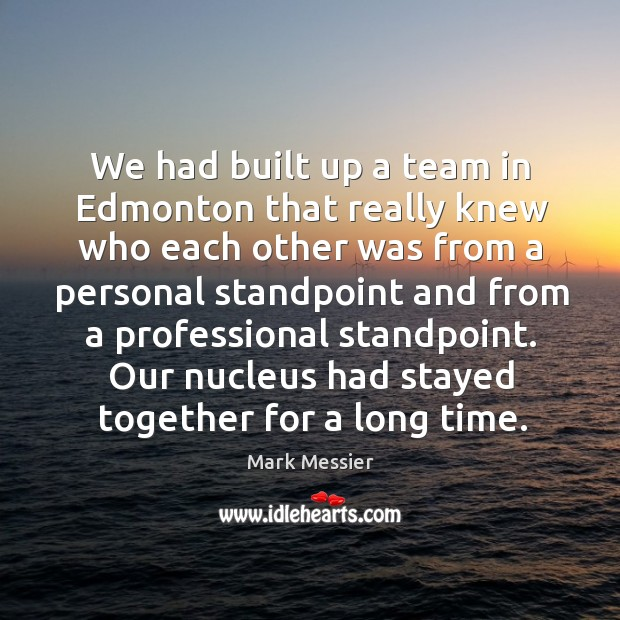 We had built up a team in edmonton that really knew who each other was from a Mark Messier Picture Quote