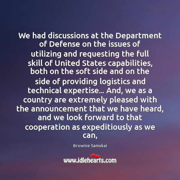 Image, We had discussions at the Department of Defense on the issues of