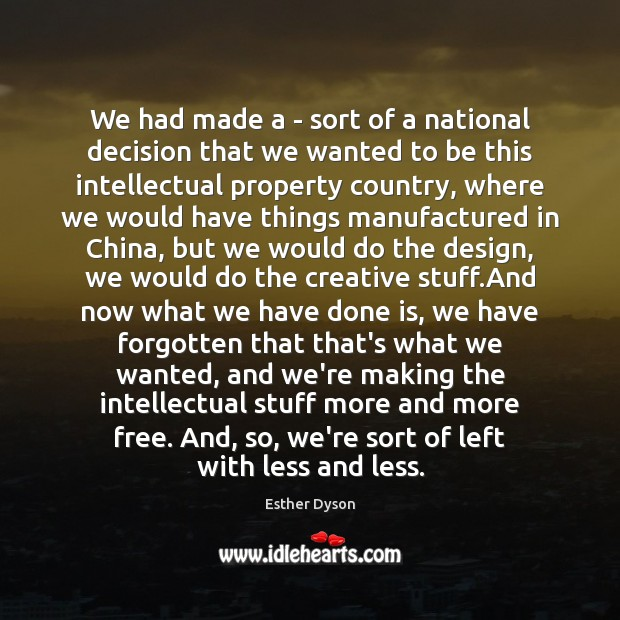 We had made a – sort of a national decision that we Esther Dyson Picture Quote