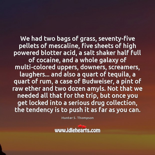 We had two bags of grass, seventy-five pellets of mescaline, five sheets Hunter S. Thompson Picture Quote