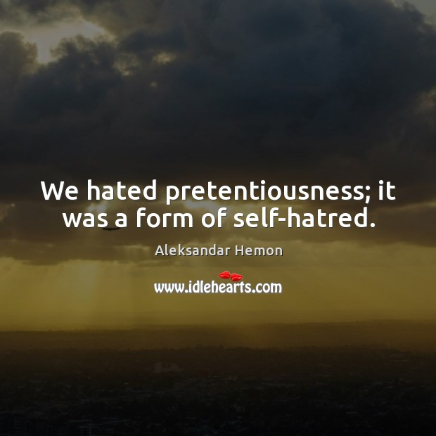 Image, We hated pretentiousness; it was a form of self-hatred.