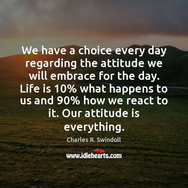 We have a choice every day regarding the attitude we will embrace Charles R. Swindoll Picture Quote